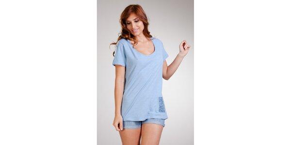 Dámske dlhé bledo modré tričko Stix