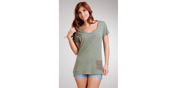 Dámske dlhé olivové tričko Stix