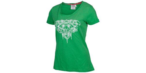 Dámske zelené tričko Chiemsee s bielou výšivkou