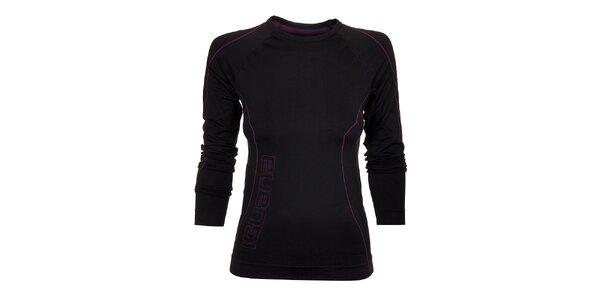 Dámske čierne termo tričko Iguana s fialovými detailmi