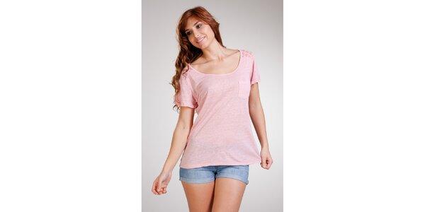 Dámske ružové ľanové tričko Stix