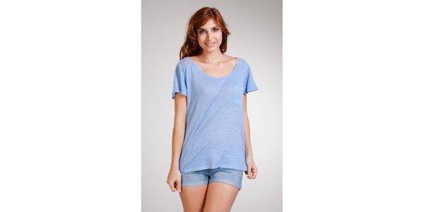 Dámske bledo modré ľanové tričko Stix
