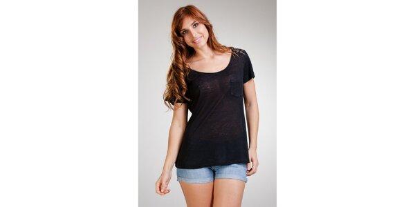 Dámske čierne ľanové tričko Stix