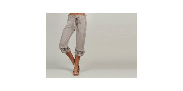 Dámske béžové ľanové nohavice s volánikmi Lin Nature