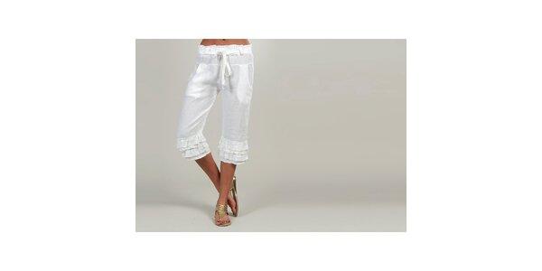 Dámske biele ľanové nohavice s volánikmi Lin Nature