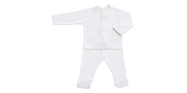 Detský biely kojenecký set s motívom hviezdičiek Naf Naf