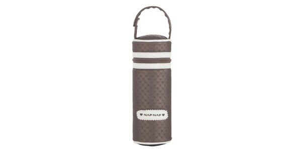 Detský hnedý obal na kŕmiacou fľaškou Naf Naf s bielymi detailmi