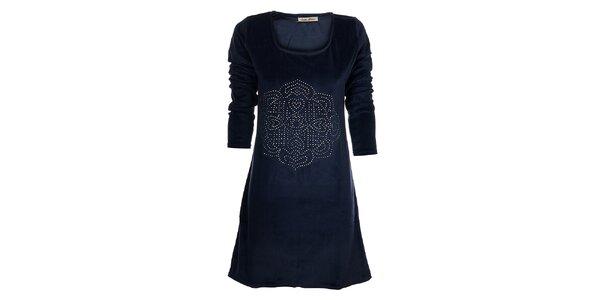 Dámske tmavo modré zamatové šaty Snake Milano s kovovými cvokmi