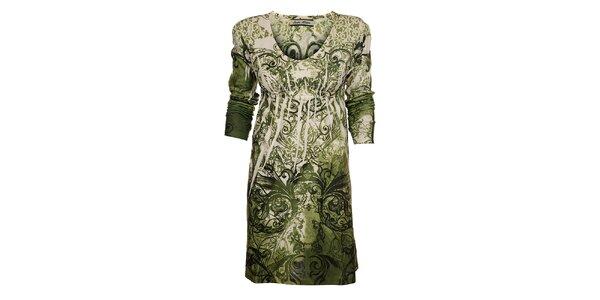 Dámske zelené šaty Snake Milano s potlačou
