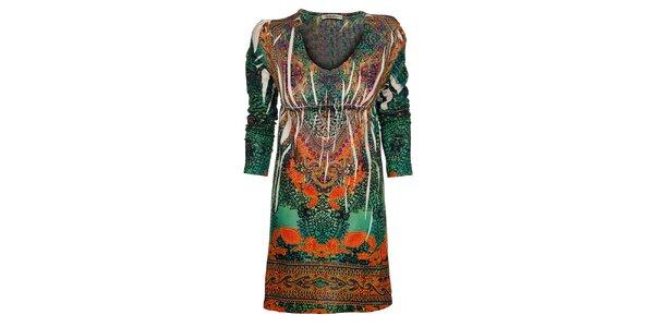 Dámske zeleno-oranžové šaty Snake Milano
