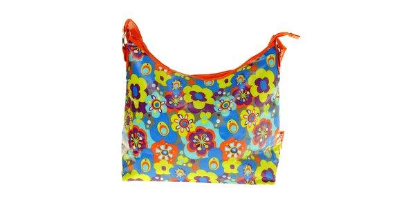 Oranžová prebalovacia taška Tuc Tuc s kvetinkami