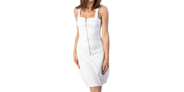 Dámske biele šaty so šnurovaním Avantgard