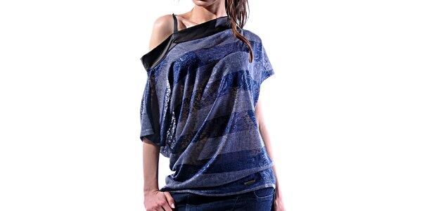 Dámske šedo-modré pruhované tričko Female Fashion