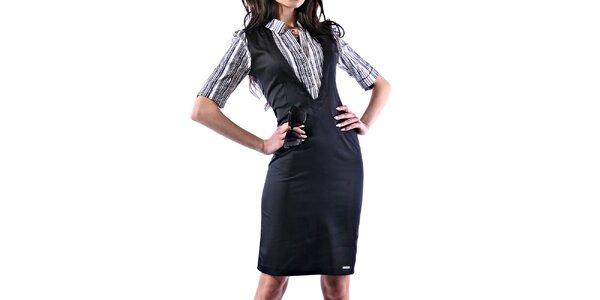 Dámske lesklé púzdrové šaty s pruhovanou košeľou Female Fashion