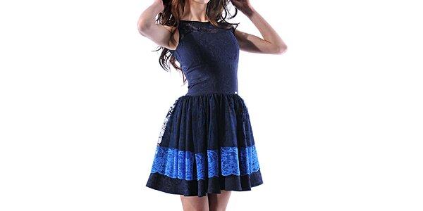 Dámske modré čipkové šaty Female Fashion