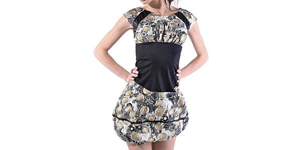 Dámske brokátové balónové šaty Female Fashion