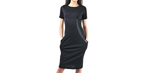 Dámske čierne šaty s vreckami Female Fashion