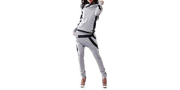 Dámsky šedý teplákový set s čiernymi detailmi Female Fashion