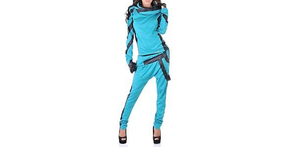 Dámsky modrý teplákový set s čiernymi detailmi Female Fashion