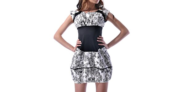 Dámske čierno-biele potlačené šaty Female Fashion