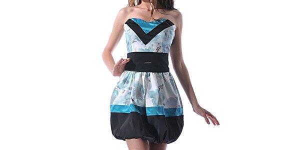 Dámske modro-čierne šaty s balónovou sukňou Female Fashion