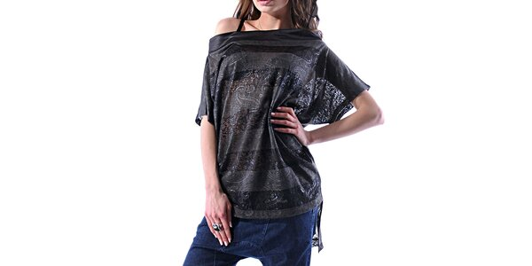 Dámske šedo-čierne pruhované tričko Female Fashion