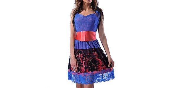 Dámske dvojfarebné šaty s čipkou Female Fashion