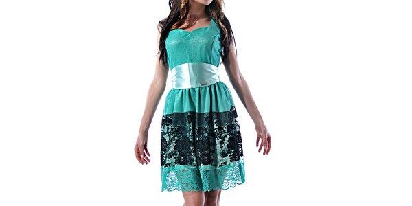Dámske tyrkysové šaty s čipkou Female Fashion
