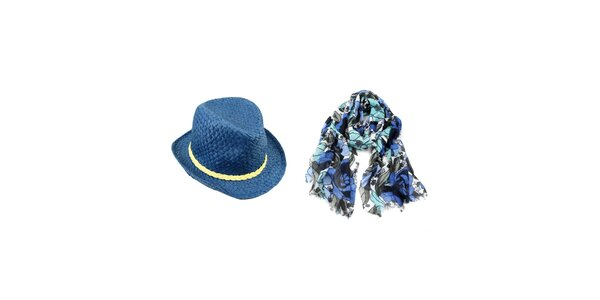 Dámsky set - modrá kvetovaná šatka a slamený klobúk Invuu London