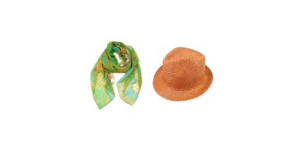 Dámsky set - zelená šatka so vzorom a oranžový slamený klobúk Invuu London