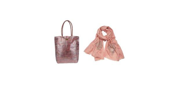 Dámsky set - ružová šatka a slamená taška Invuu Lodon