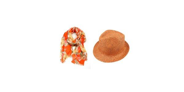 Dámsky set - farebne vzorovaná šatka a oranžový slamený klobúk Invuu London