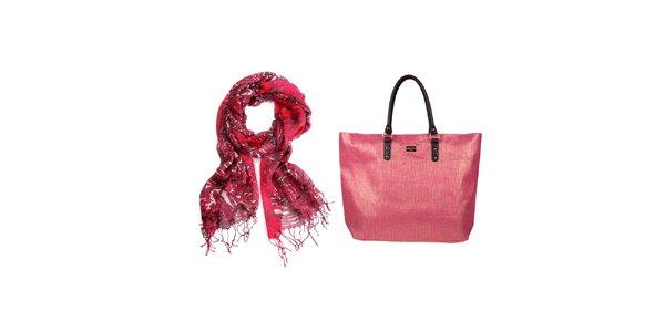 Dámsky set - farebná šatka a slamená ružová taška Invuu Lodon