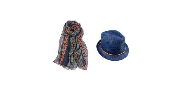 Dámsky set - farebná šatka a modrý slamený klobúk Invuu London