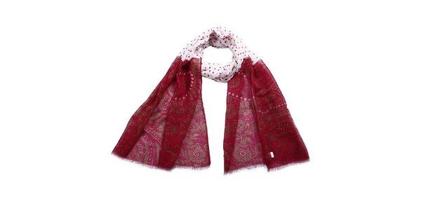 Dámska dvojfarebná šatka so vzorom a bodkami Giancarlo Bassi