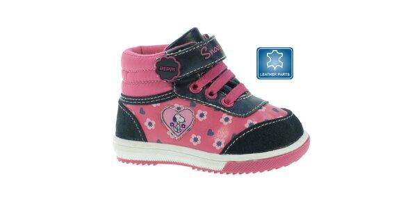 Detské ružové členkové topánky so Snoopym Beppi