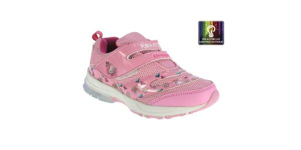 Detské ružové tenisky s farebnými obrázkami Beppi
