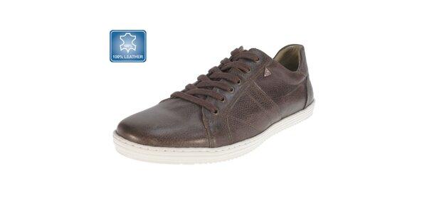 Pánske hnedé kožené topánky Beppi