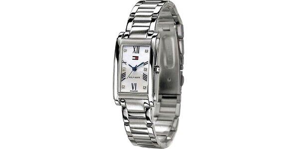 Dámske oceľové hodinky hranatým ciferníkom Tommy Hilfiger