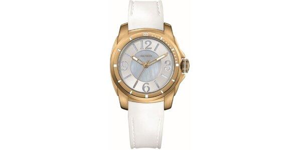 Dámske pozlátené oceľové hodinky s bielym silikónovým remienkom Tommy Hilfiger