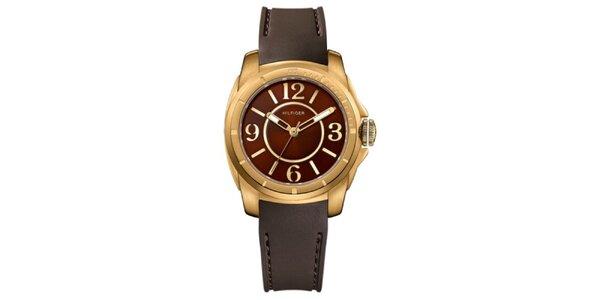 Dámske bronzové oceľové hodinky so silikónovým remienkom Tommy Hilfiger