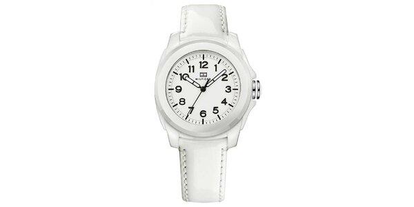 Dámske biele keramické hodinky s lesklým remienkom Tommy Hilfiger