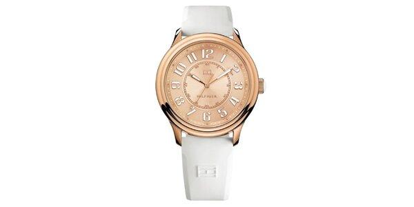 Dámske ružovo zlaté oceľové hodinky s bielym remienkom Tommy Hilfiger
