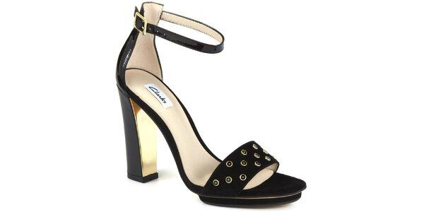 Dámske čierne semišové sandálky na opätku Clarks