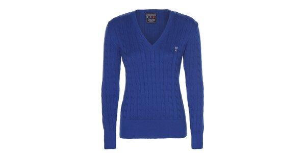 Dámsky modrý sveter s véčkovým výstrihom Giorgio di Mare