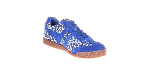 Dámske modré tenisky s kvetinovou potlačou Gola