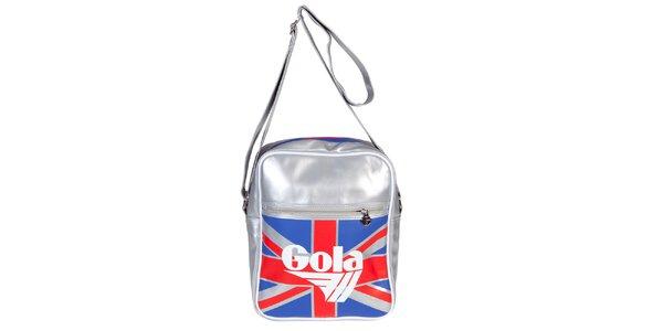 Retro menšia strieborná taška s vlajkou Gola