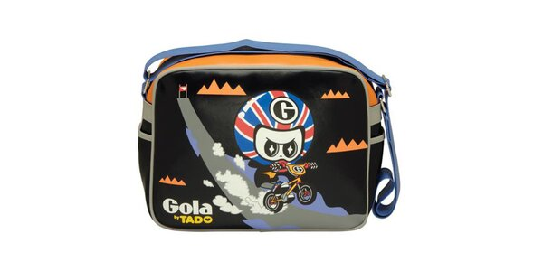 Čierna kabelka s cyklistom Gola