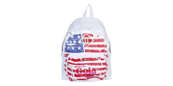 Biely ruksak s vlajkou Gola