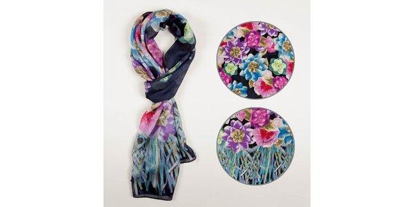 Dámsky pestrofarebný kvetinový šál Braccialini